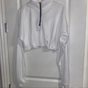 Cropped white zip-up sweatshirt